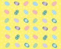 Dancing Easter. Colorful background with Easter eggs and spring flowers Stock Image