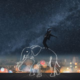 Dancing on the elephant's back Royalty Free Stock Photos