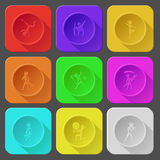 Dancing ethnic little man. Color set  icons. Stock Photography