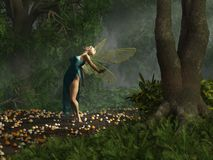 Dancing Fairy in Blue Dress stock illustration