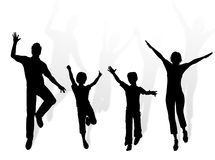Dancing family. Family silhouette dancing and jumping for happiness Royalty Free Stock Image
