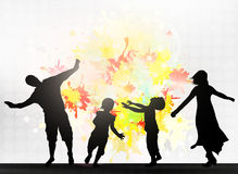 Dancing family silhouettes Royalty Free Stock Photos