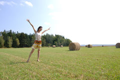 Dancing on a farm field Stock Images