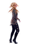 Dancing Fashion Blondie Girl. Royalty Free Stock Photo