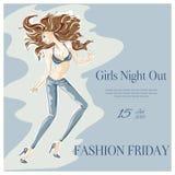 Dancing fashion girl in nightclub Royalty Free Stock Photo