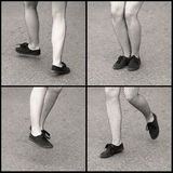 Dancing feet. Black and white collage of woman's feet and legs wearing net stockings and snickers; in movement, dancing the swing, jumping, showing the various Royalty Free Stock Photography