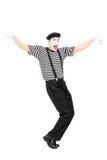 Dancing felice dell'artista del mimo Fotografia Stock Libera da Diritti