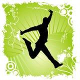 Dancing felice dell'uomo Immagini Stock