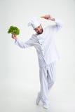 Dancing felice dell'uomo con le verdure Fotografia Stock