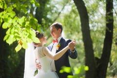 Dancing felice delle coppie nel parco verde fotografia stock libera da diritti