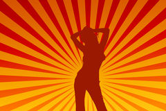 Dancing female. Silhouette of a dancing girl royalty free illustration