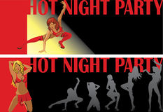 Dancing female.Night party.Two invitational ticket Stock Photos
