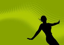 Dancing female and wavy logo. An abstract background of light and dark green colors in a wavy, diagonal pattern. Dark silhouette of dancing female Royalty Free Stock Photo