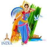 Dancing femminile del ballerino sul fondo indiano che mostra cultura variopinta dell'India illustrazione di stock