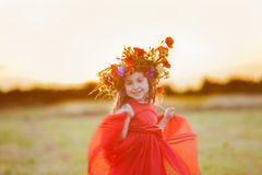 Dancing in the field Royalty Free Stock Photo