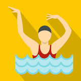 Dancing figure in a swimming pool icon, flat style. Dancing figure in a swimming pool icon. Flat illustration of dancing figure in a swimming pool vector icon Stock Images