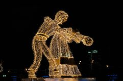 Dancing figures at the Festival Trip to Christmas. Giant figures of dancers erected for the Festival Trip to Christmas 2017-2018, Moscow, Russia Royalty Free Stock Images