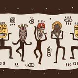 Dancing figures wearing African masks. Primitive art. Seamless Vector Illustration Royalty Free Stock Photos