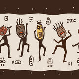 Dancing figures wearing African masks. Primitive art. Seamless Vector Illustration Stock Photo