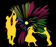 Dancing in the fireworks. An illustration on the general view of the feasts Stock Photo