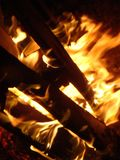 Dancing flames from small fire shooting by night amazing view stock image