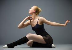 Dancing on the floor ballerina Royalty Free Stock Photos