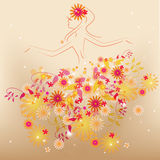 Dancing flower fairy. In flowers Stock Photos