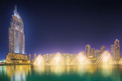 The dancing fountain Burj Khalifa in Dubai, UAE Stock Images