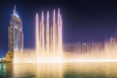 The dancing fountain Burj Khalifa in Dubai, UAE Royalty Free Stock Image