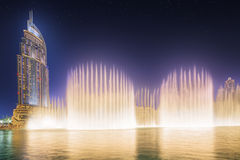The dancing fountain Burj Khalifa in Dubai, UAE Stock Photo