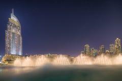 The dancing fountain Burj Khalifa in Dubai, UAE Stock Photo