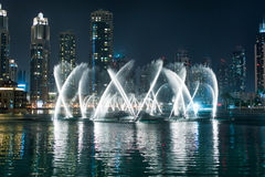 Dancing fountain in Dubai Stock Photo