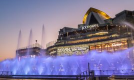 Dancing fountain At ICONSIAM building thailand royalty free stock photo