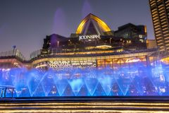 Dancing fountain At ICONSIAM building thailand stock image