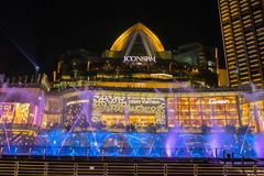 Dancing fountain At ICONSIAM building thailand royalty free stock photos