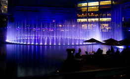 Dancing fountain. During a light and sound event stock photo