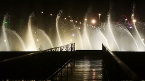 Dancing fountain at night stock footage