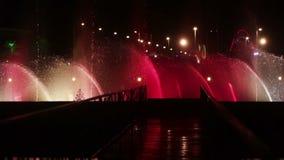 Dancing fountain at night stock video
