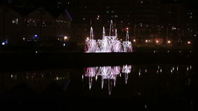 Dancing fountain at night stock video
