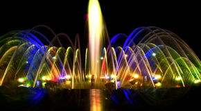 Dancing fountain at night, mix color Royalty Free Stock Image