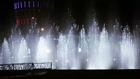 Dancing fountain at night stock video footage