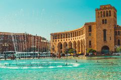 Dancing Fountains and architectural complex on Republic Square. Touristic architecture landmark. Sightseeing in Yerevan. City tour. Government House. Travel stock image