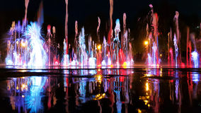 Dancing fountains. Colored fountains dance to the music of the night stock photo