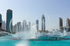 The Dancing fountains downtown and in a man-made lake in Dubai Royalty Free Stock Photos