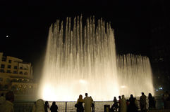 The Dancing fountains in Dubai downtown Royalty Free Stock Photos