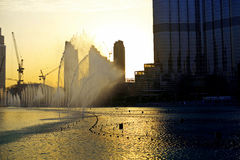 The Dancing fountains in Dubai downtown Stock Photography