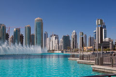 Dancing fountains in Dubai, UAE Royalty Free Stock Photos