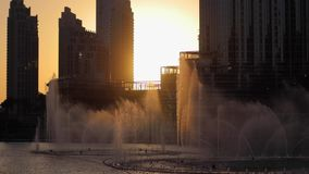 Dancing fountains at sunset in Dubai stock footage