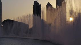 Dancing fountains during sunset in Dubai stock video