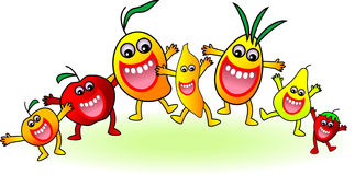 Dancing fruits Stock Images